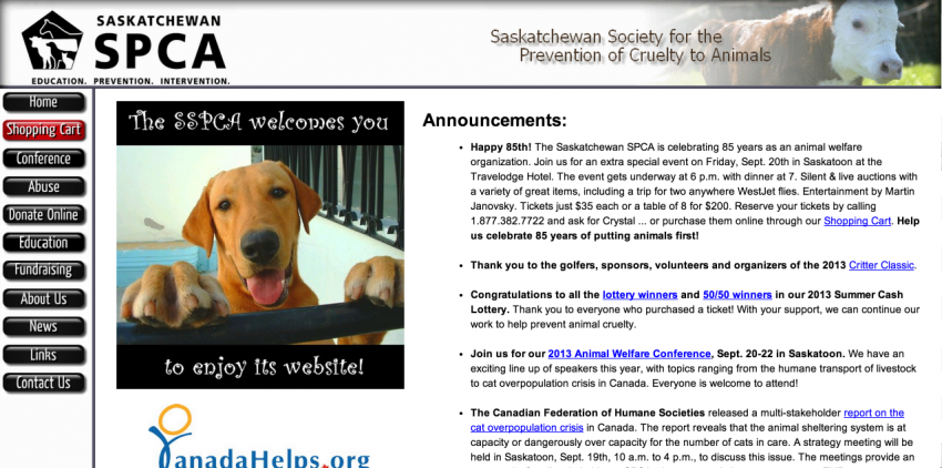 Old website design sspca