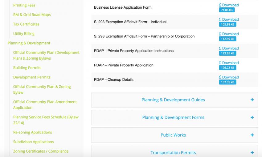 rural municipality website design